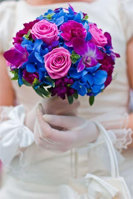 Vibrant blue and purple bridal bouquet