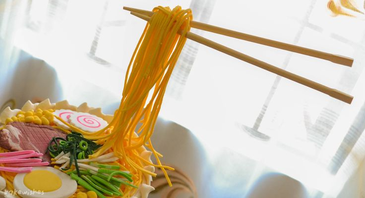 gravity defying noodle cake