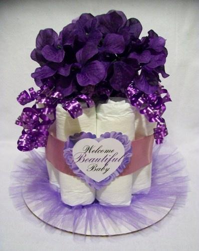 Beautiful Baby Purple Mini Diaper Cake Centerpiece - Baby Shower Gift