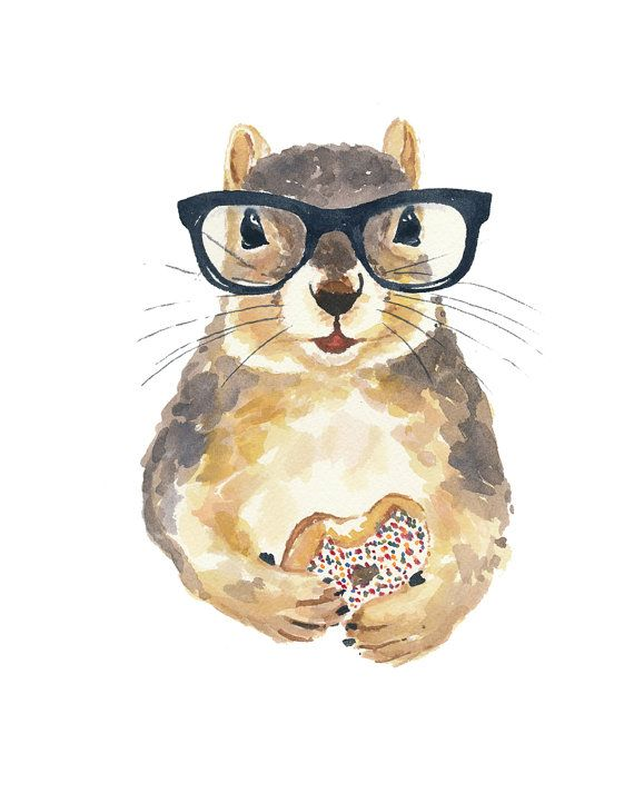 Watercolor Squirrel PRINT - Nerdy Squirrel, Sprinkle Donut, Hipster Glasses, 8x10 Painting Print via Etsy