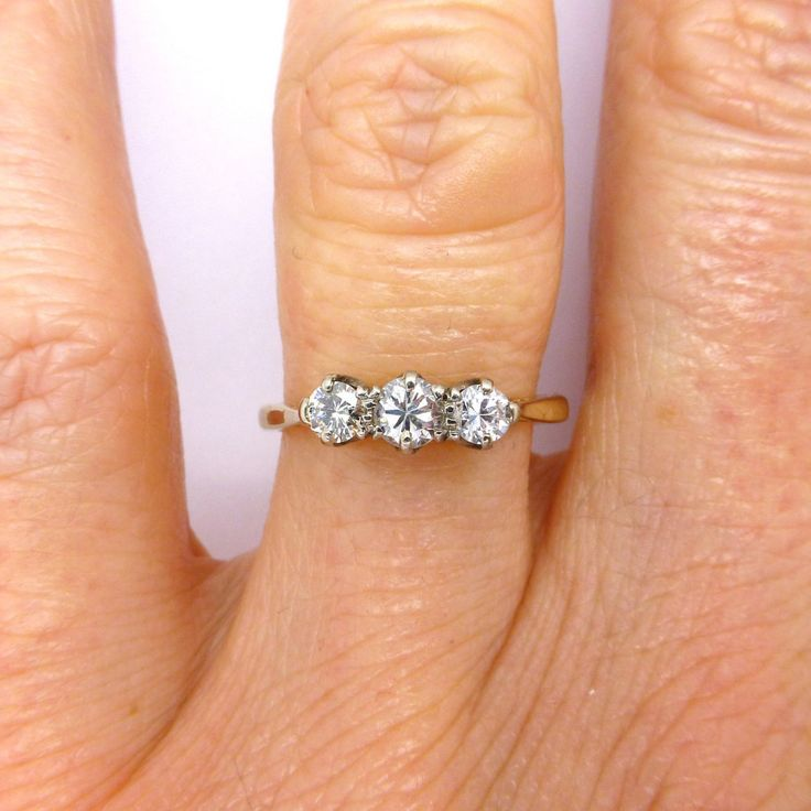 Antique diamond Trilogy engagement ring 18ct Platinum 3 Three stone c1930s Classic Vintage English vintage wedding Anniversary FREE SHIPPING by vintagejewelbox on Etsy