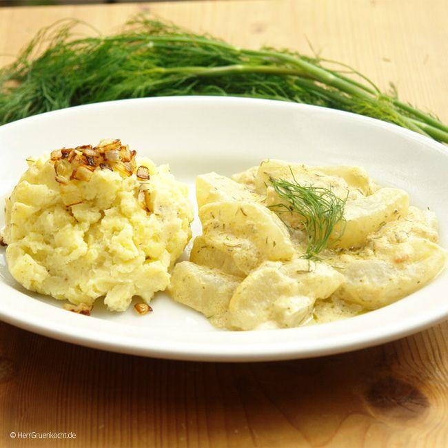 Stampfkartoffeln und Schmorgurken mit Senf-Dill-Sauce