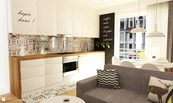 wydłużone fronty szafek jako otwieranie | salon z kuchnią - zdjęcie od Grafika i Projekt - Kuchnia - Styl Skandynawski - Grafika i Projekt