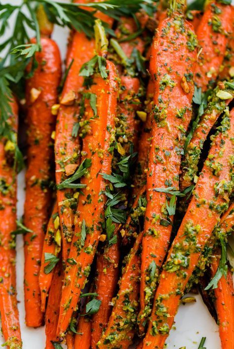 Roasted Carrots with Carrot Top-Pistachio Pesto | A Beautiful Plate