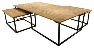 ORDERED 8/18  Dickens Reclaimed Wood Modern Large Coffee Table Set transitional-coffee-tables $1,970