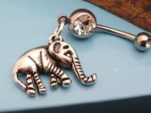 Cute little elephant belly button ring.