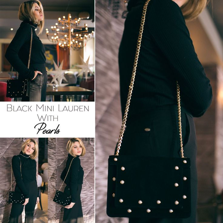 The black Mini Lauren bag with pearls is elegant, feminine and versatile @w