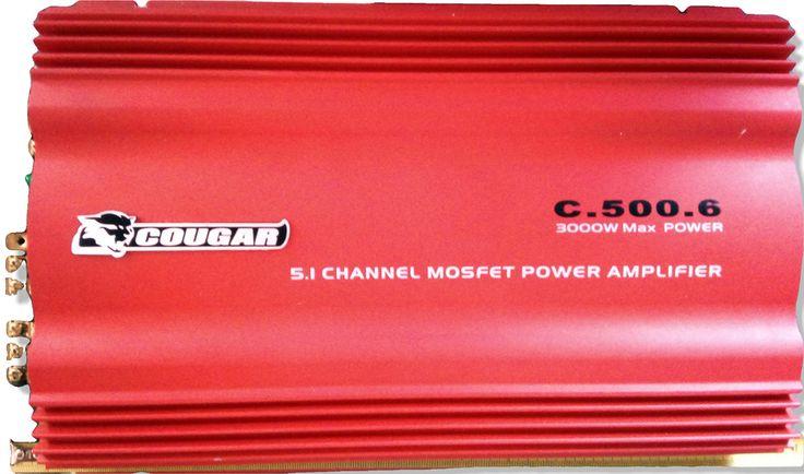 Amplificateur auto AB pur classe 3000W marque Cougar C.500.6 canaux 5x400W+1000W