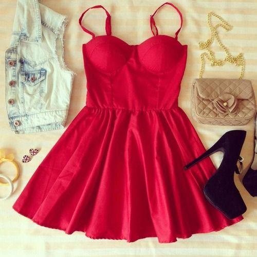 red skater dress, denim jacket, black pumps
