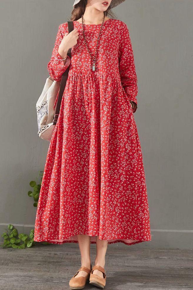 Loose Floral Cotton Linen Maxi Dresses For Women 1527
