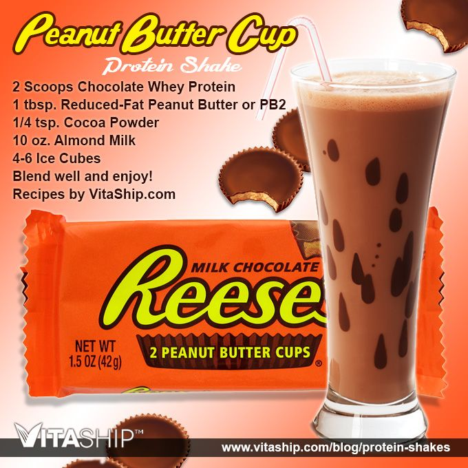The Peanut Butter Cup Protein Shake Recipe - 2 Scoops Chocolate Whey Protein Shake Mix, 1/4 tsp. Cocoa Powder, 1 tbsp. Reduced-Fat Peanut Butter or PB2.