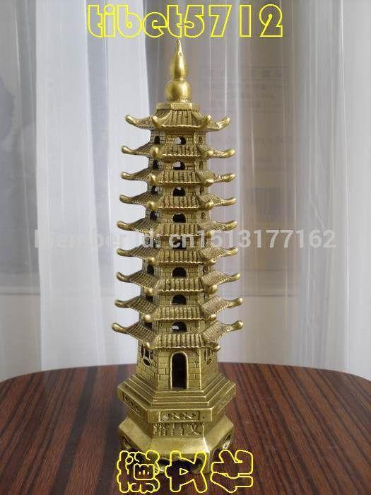 Тибетский Буддийский Храм поклонения бронза пагода Вэньчан Башня 23 см 0.6 КГ Бронзовая Отделка Будда Исцеление Статуя