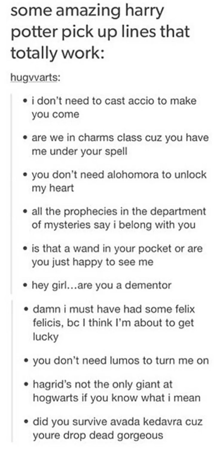 Harry Potter pick up lines
