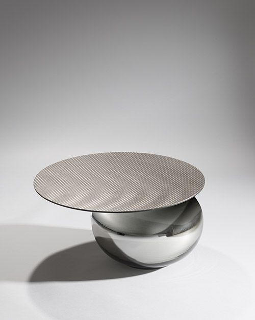 "Coffee table ""Mursi"" Piergil Fourquié  DIMENSIONS: H 30 x D 60,5 cm   MATERIALS: Silkscreened leather, blown glass"