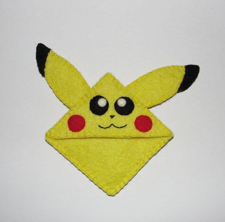 Wool Felt Pikachu Bookmark, Corner Bookmark, Pikachu, Felt Bookmark, Birthday Gift, Teacher Gift, School Bookmark, Handsew Bookmark by NitaFeltThings on Etsy