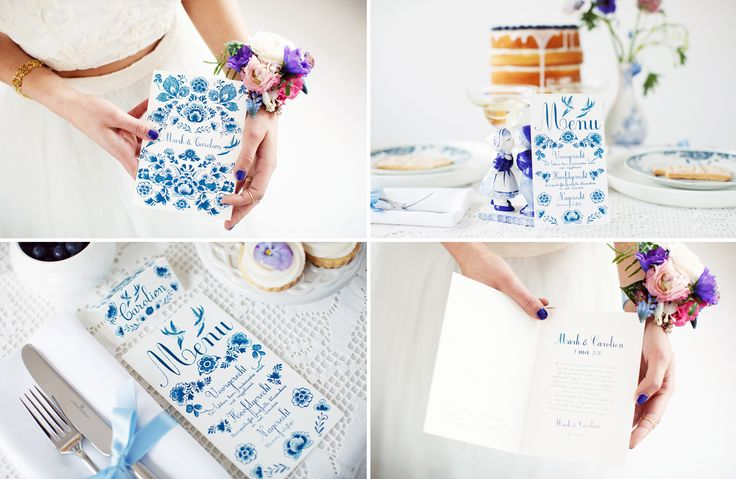 Delft blue shoot - wedding stationary, menu and place / name card by www.ikblijfjetrouw.nl