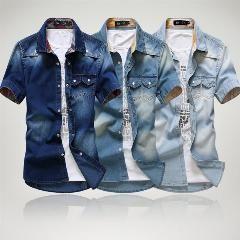[ 33% OFF ] 3 Color Blue Summer Denim Jeans Shirt For Men Short Sleeves 2014 Summer Korean Style Fashion Washed Slim Man Casual