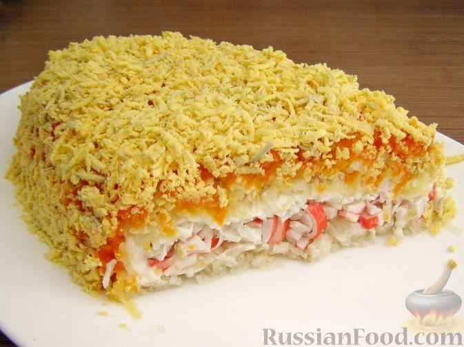 Рецепт: Нежный салат с крабовыми палочками на RussianFood.com