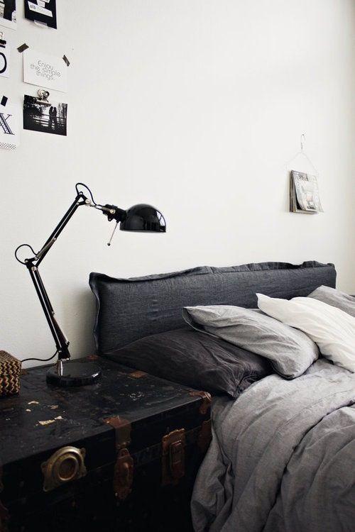 soft, raw-edged upholstered headboard