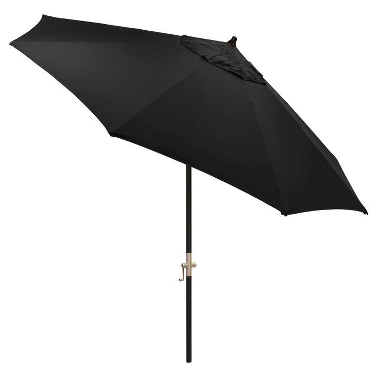 9' Round Sunbrella Umbrella - Canvas Black - Black Pole - Smith & Hawken