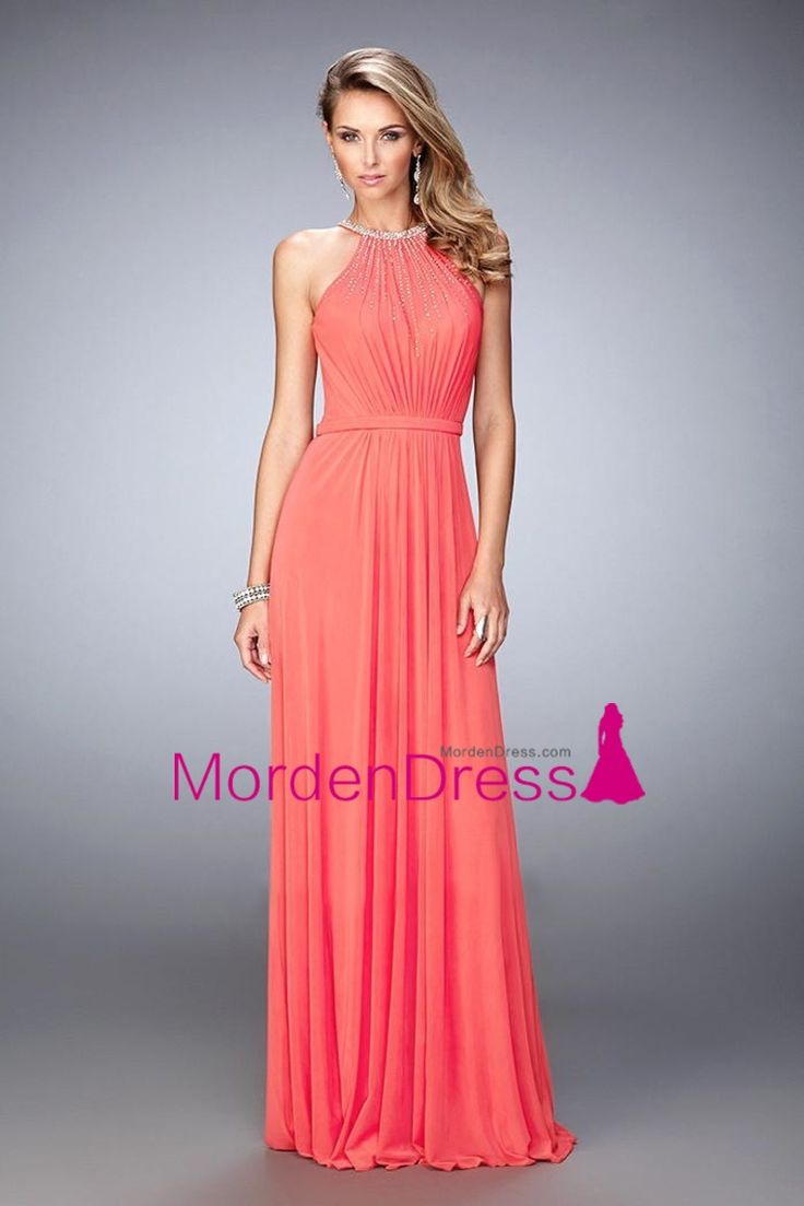 2016 Prom Dresses Halter A Line Chiffon With Beads Floor Length