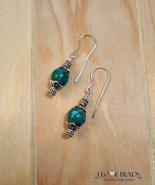 Turquoise earrings-sterling silver earrings-tombolo turquoise earrings-blue turquoise earrings-dangle earrings- blue earrings-turquoise