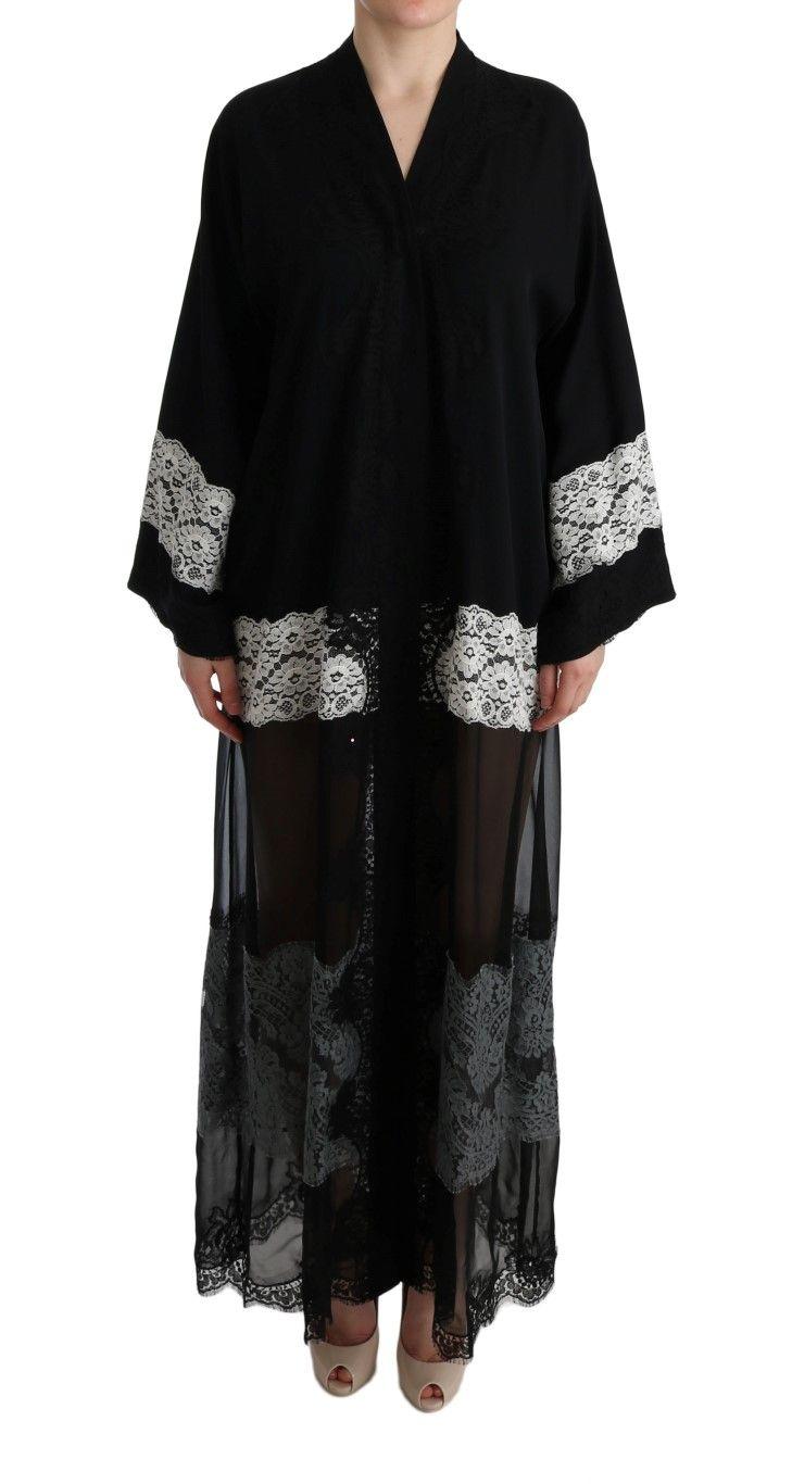 f865ce5c05  DolceGabbana  Dresses Black White Floral Applique Kaftan Dress