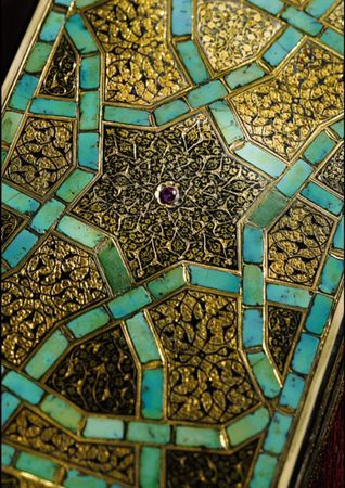 An Ottoman Ivory and Turquoise-Inlaid Box Set with Rubies, Turkey, Early 16th Century.