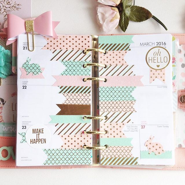 This is really cute! ☝Happy Spring everyone!I Moved back into my Peach Butterfly @kikki.k planner. Used the pink and mint washi from @michaelsstores it's so pretty! And my lovely planner friend @haveaprettyplan sent me that cute bow clip! It's perfect! Thanks, Pia! #recollectionswashi #kikkikloves #michaels