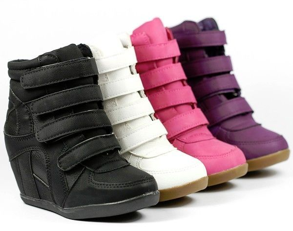GIRLS KIDS HIGH TOP FASHION WEDGE SNEAKERS WHITE FUCHSIA PINK PURPLE BLACK  | Clothing, Shoes & Accessories, Kids' Clothing, Shoes & Accs, Girls' Shoes | eBay!