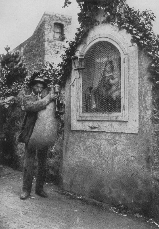 Sicilian man playing the caramello