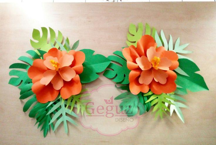 Flowers paper Backdrop Tablero Decor Moana