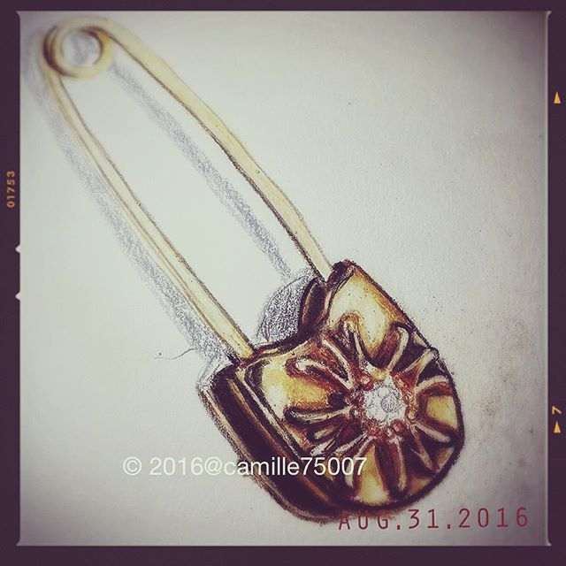 WEBSTA @ camille75007 - 🏵Chrome Hearts safety pin in gold and diamond 🏵. One might afford Chrome Hearts but no amount of money can purchase the coolness needed to pull it off. Feeling that rich Asian pop post punk idol vibe lately.  Camera : iPhone 6/ Line Camera Edit: Snapseed, Line Camera Deco: Line Camera Pencils: Prismacolor Premier
