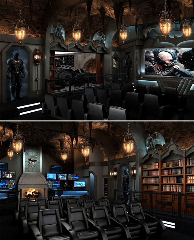 """What does it mean when someone is """"stupid rich""""? You're looking at it. This is a Dark Knight themed home theater that was built to the tune of two million dollars."""