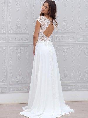 White A-Linjeformat Kort Ärm Rund Chiffong Spets Svepsläp Bröllopsklänningar för 4870kr
