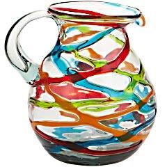 art glass pitcher.: Decor, Colors Colors Ribbons, Ribbons Pitcher, Pretty Pitcher, Beautiful Pitcher, Glasses Pitcher, Colors Glasses, Bold Kitchens Colors, Art Glasses