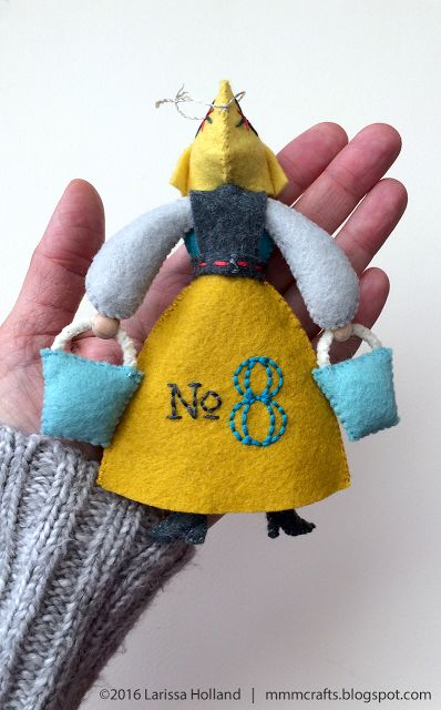 mmmcrafts - Back view of Maid a-Milking ornament. Twelve Days ornament series.
