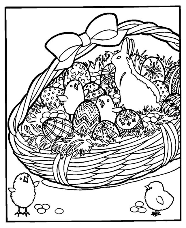Detailed Easter basket coloring page Kids' Coloring