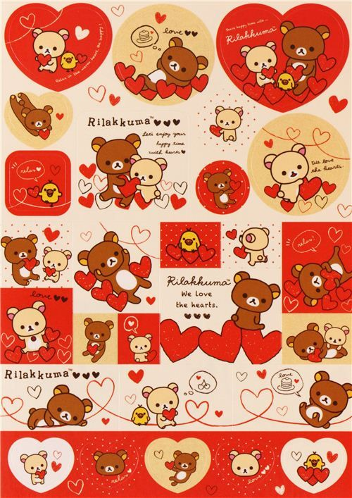 white Rilakkuma bear with red hearts Note Pad con pegatinas 6