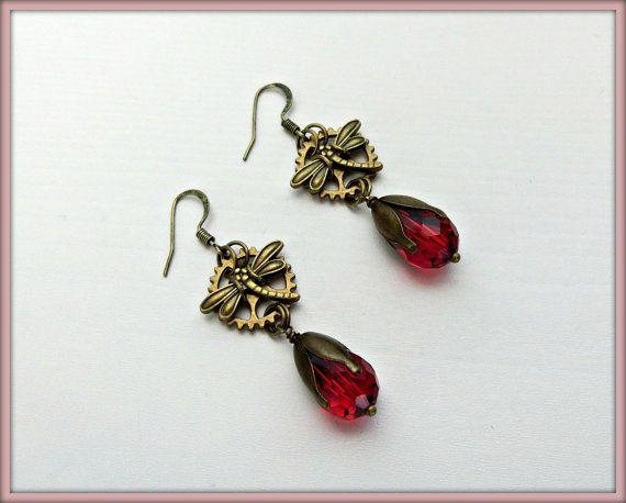 Steampunk earrings, Gear earrings, Bronze Steampunk earrings, Dragonfly earrings, Steampunk gift