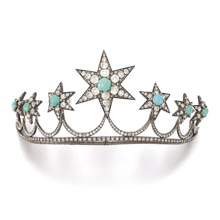 From the Collection of Principessa Caracciolo di Castagneto, formely in the Collection of Duchessa Leopoldina Ruffo di Calabria - Turquoise and diamond tiara, circa 1870 - Composed of seven detachable stars, each set with cabochon turquoise highlighted with rose-, circular-cut and cushion-shaped diamonds, length approximately 210mm, stars detachable.