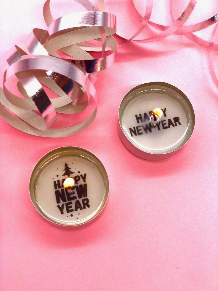 Teelichter mit Botschaften als DIY Geschenke für Silvester