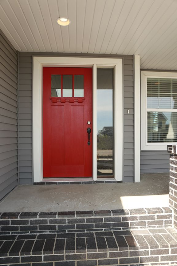 Exterior Doors | in case you hadn't heard, a front door in a peppy color is the rage.  can't go wrong with red.  visit one of our local lumberyard dealers to make this yours | Bayer Built Woodworks, Inc.