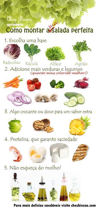 Como montar a salada perfeita, leve e delicious!   Mais dicas no chezbiessa.com