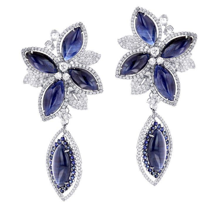 Blue Sapphire and Diamond Earrings   ... Unique 18K Gold Ladies Designer Diamond Flower Earrings Blue Sapphires