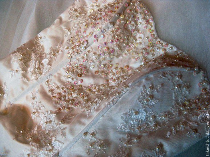 Купить Свадебное платье ЖЕМЧУЖНОЕ - кремовый, свадебное платье, жемчуг, жемчуг искусственный, платье, свадьба