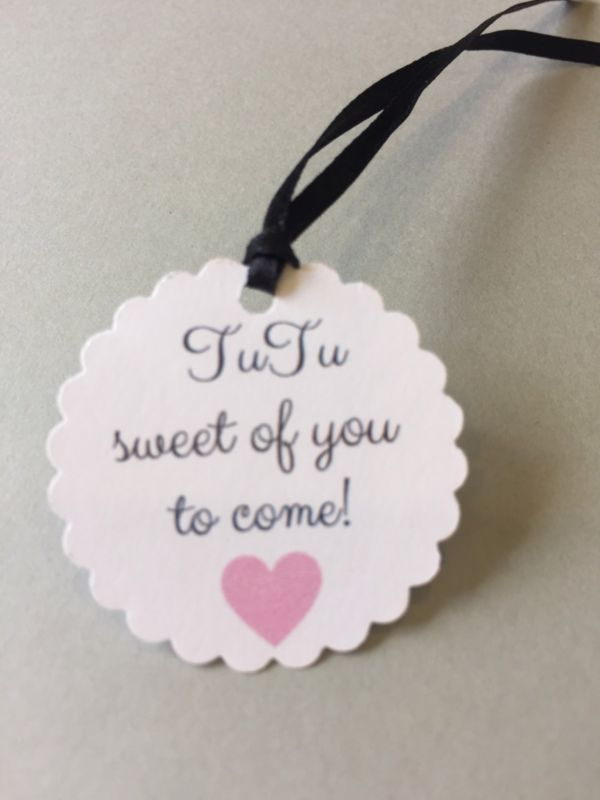 55 Baby Shower, First Birthday, Girl, Ballerina Theme, Thank You Tags, Favor Tag
