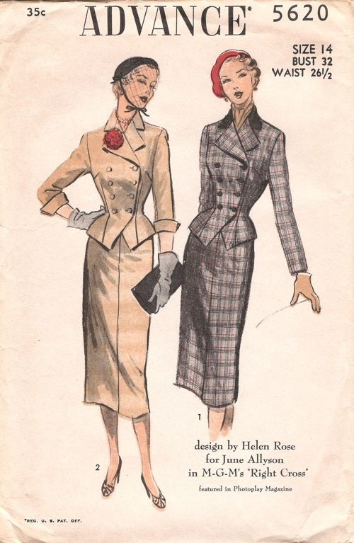 """Home sewing Advance pattern 5620, 1951, design by Helen Rose for June Allyson in MGM's """"Right Cross"""" featured in Photoplay Magazine.  View 1, Two-Piece Lined Suit with Contrasting Collar.  View 2, Unlined Two-Piece Suit with Three-quarter Sleeves."""