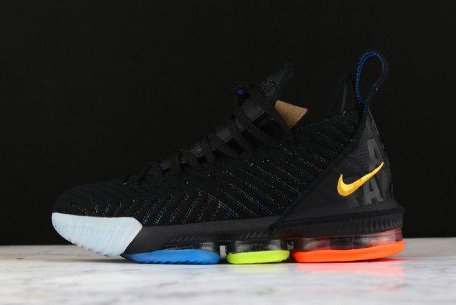 """5e0a7c852f2 Nike LeBron 16 """"I Promise"""" Black Multi-Color AO2595-004"""