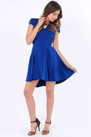 A Sight to Be Seam Royal Blue Skater Dress #lulus #holidaywear $56.00